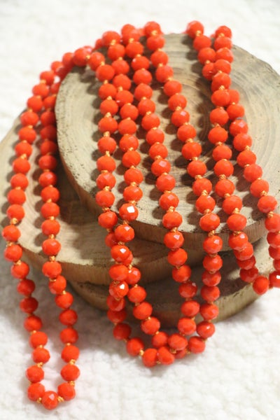 Bright Orange Point Of Perfection Beaded Necklace