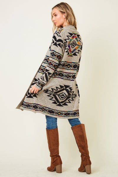 The Things You Say Gray Aztec Cardigan - Sizes 4-10