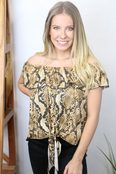 Rattled Up Snakeskin Off the Shoulder with Knotted Tie Front Detail - Sizes 4-10