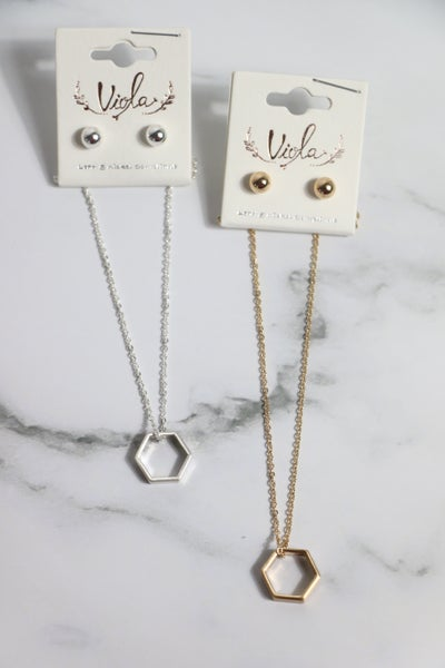 On The Go Short Necklace With Open Hexagon Pendant In Multiple Colors
