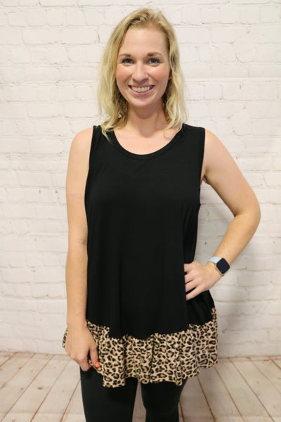 Best Time Leopard Ruffle Tank In Multiple Colors- Sizes 4-10