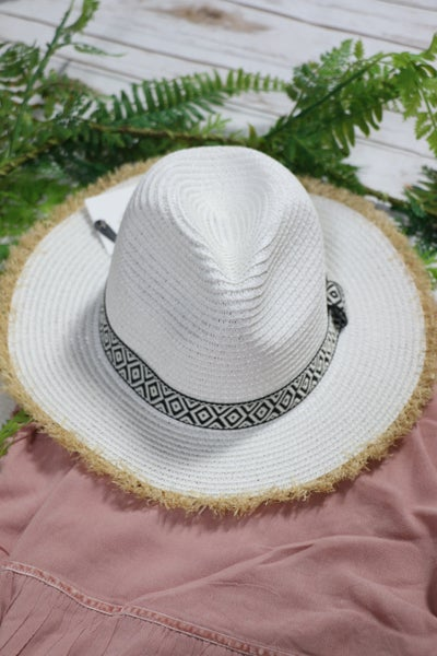 Set the Stage White Paper Hat with Aztec Band