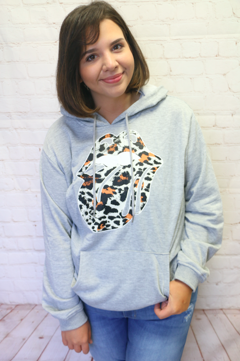 Taste the Wild Side Leopard Lips and Tongue Gray Pull Over Hoodie - Sizes 4- 18