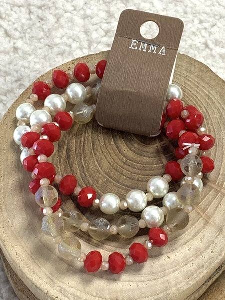 Holiday 3 Strand Beaded Bracelet In Red Gold And Pearl