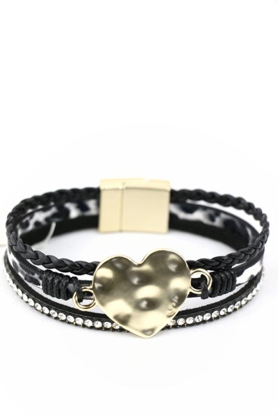 Oh My Heart 3 Strand Leopard Magnetic Clasp Bracelet With Gold Pendant In Multiple Colors
