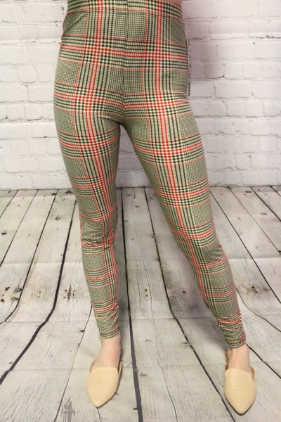 Red & Olive Houndstooth Leggings - Sizes 4-20