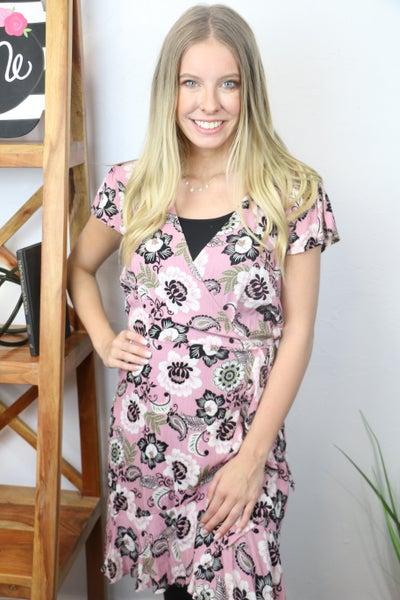 The One I Want Pink Floral and Paisley Wrap Dress - Sizes 4-10