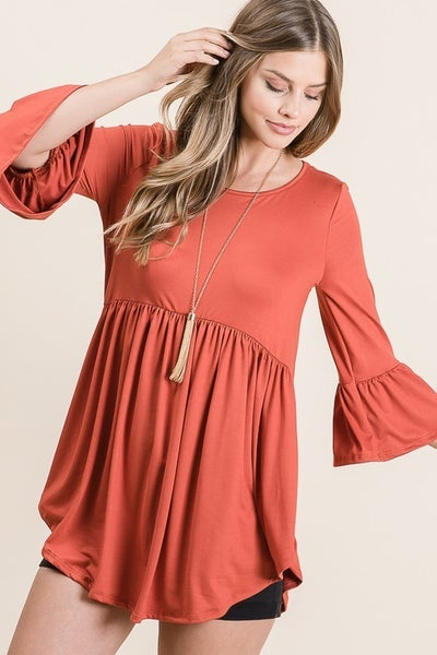 Take My Hand Babydoll Tunic with Ruffle Sleeve in Multiple Colors - Sizes 4-12