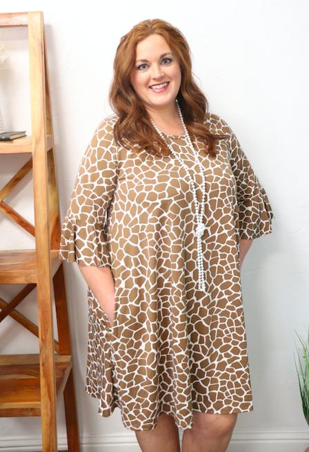 Safari Queen Giraffe Print Bell Sleeve Dress in Multiple Colors - Sizes 12-20