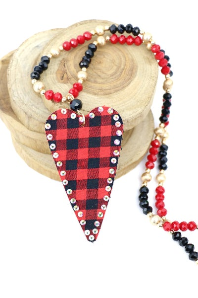 A Piece Of My Heart Long Red And Black Beaded Necklace With Buffalo Plaid Heart Pendant
