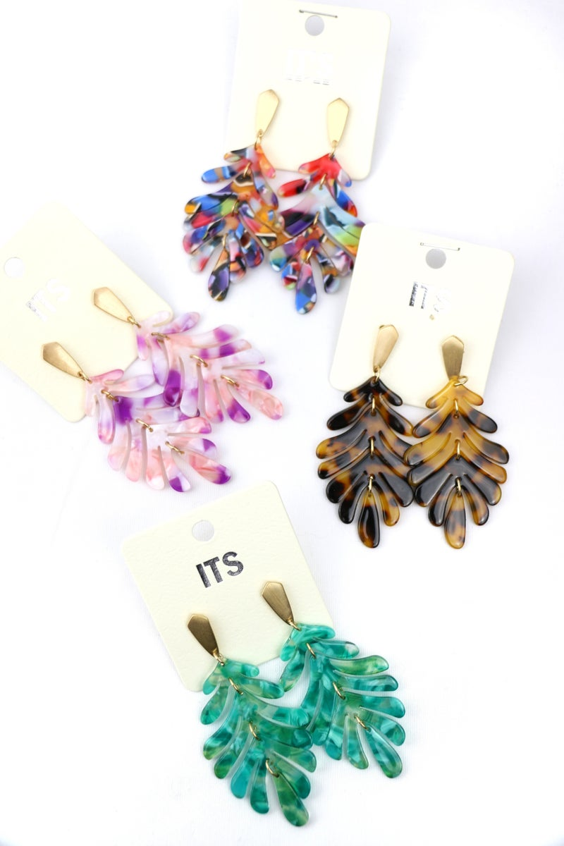 Fall Indeed Acetate Leaf Shape Earring In Multiple Colors