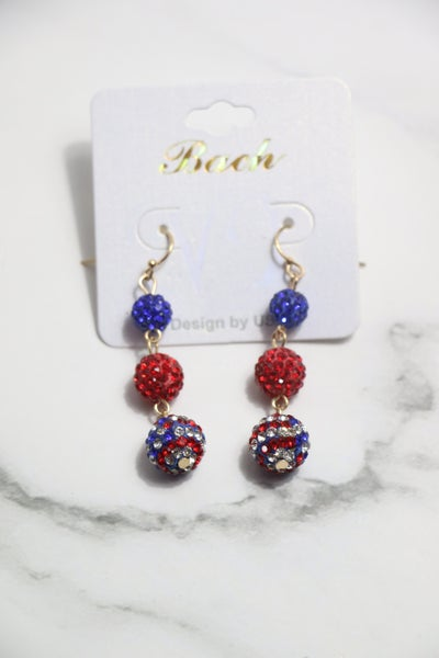 Freedom Flag Red Blue Flag Shimmer And Shine 3 Bead Earring