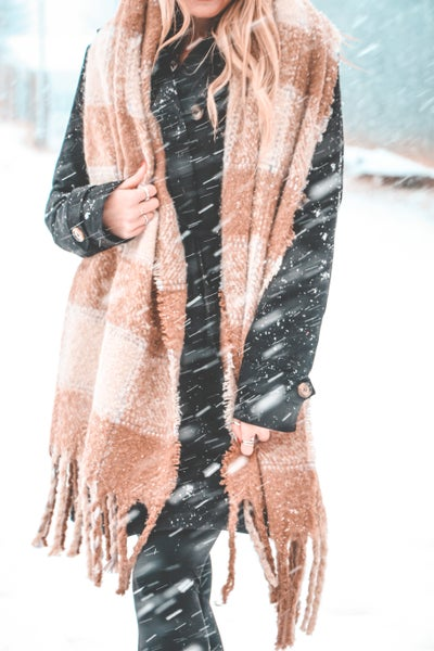 Loved By You Plaid Super Soft Scarf With Twisted Fringe In Multiple Colors