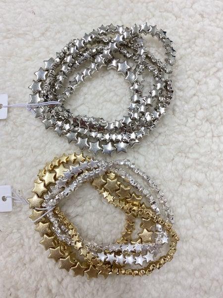 Starry Night Multi Strand Star Bracelet In Multiple Colors