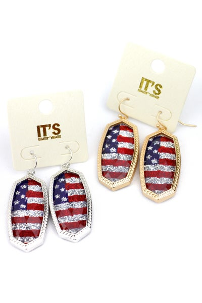 American Pride Oblong Flag Earring In Multiple Colors