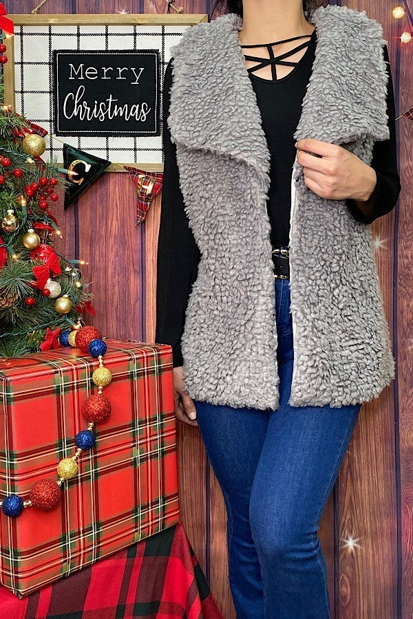 Finding the Silver Lining Gray Faux Sherpa Vest - Sizes 4-20