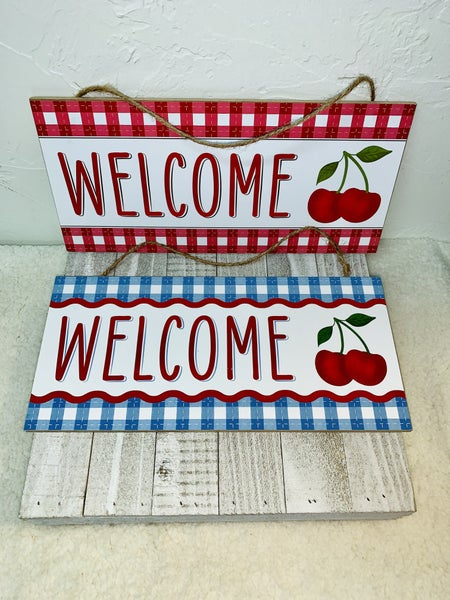 Welcome Summer Wall Hanger with Cherries ~ Multiple Colors