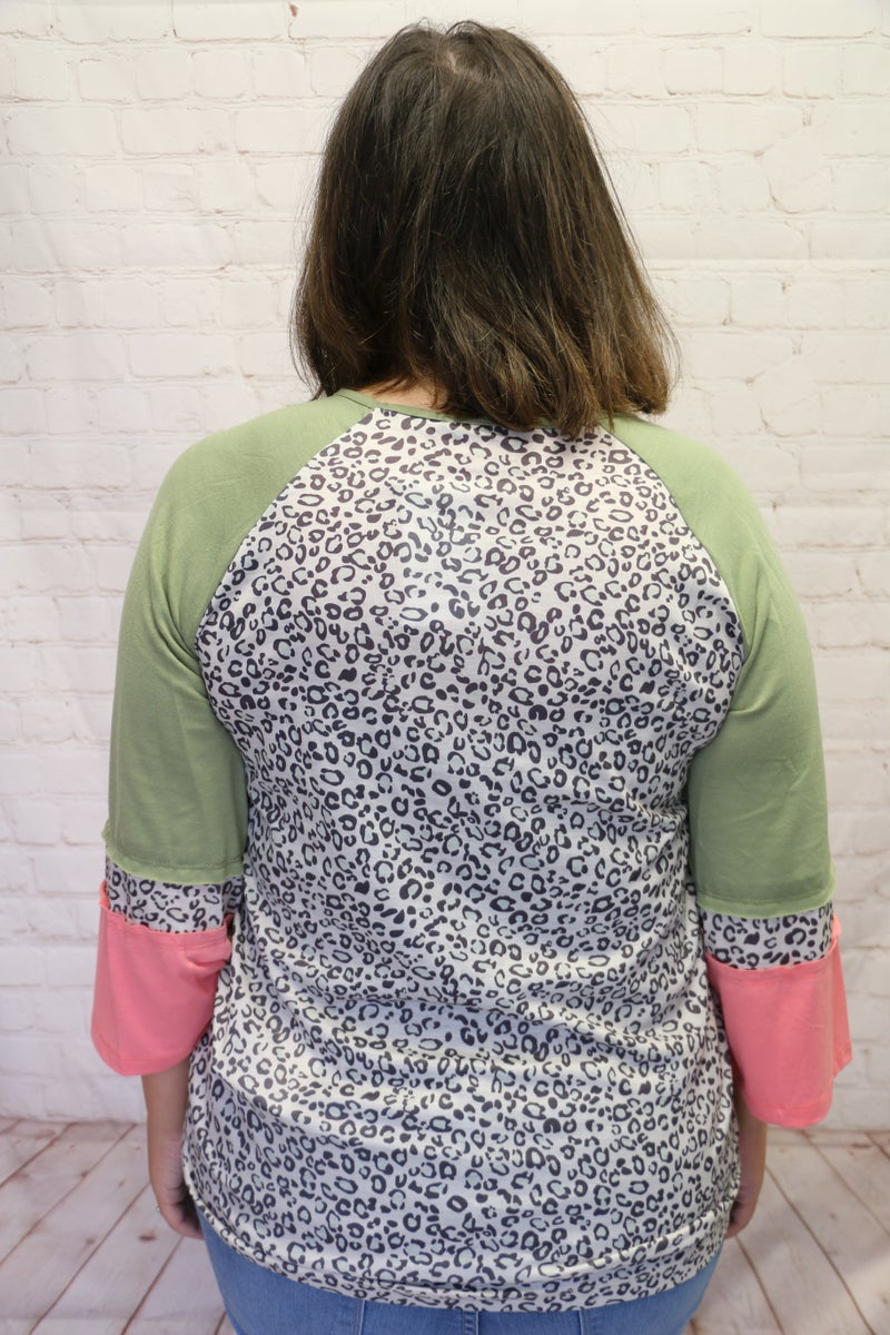 Here For You Leopard Top with Olive/Pink Colorblock Sleeves - Sizes 4-18