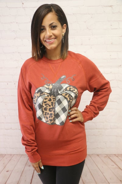 Soft & Comfy Sweatshirt with Leopard & Buffalo Plaid Pumpkin - Sizes 4-20