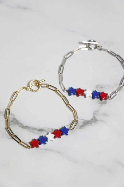 Follow the Stars Red White and Blue Star Chain Link Bracelet in Multiple Colors