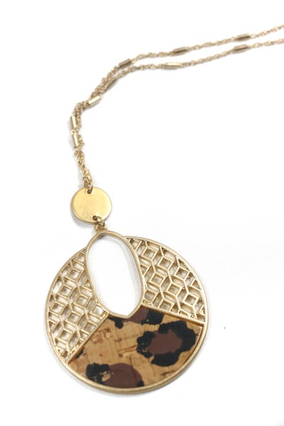 Happiness Goldtone Filigree and Leopard Cork Cut-Out Disk Necklace