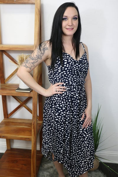 What You Want Navy Dalmatian Print Dress with Tie at Waist - Sizes 4-12