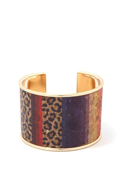 Wild Time Multicolor Leopard Cork Wrap Cuff
