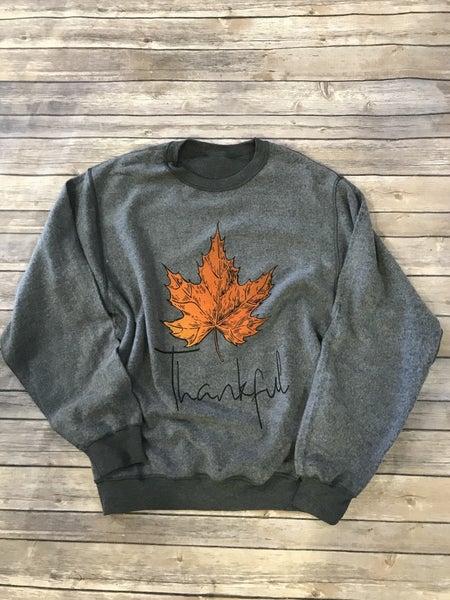 Thankful Orange Leaf Inside Out Charcoal Sweatshirt - Sizes 4-20