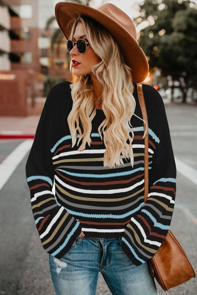 Must Have Forgot Black with Multicolor Stripes Sweater - Sizes 4-20
