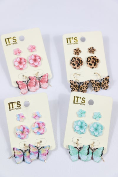 Springtime  3 Piece Flower Stud And Butterfly Drop Earring In Multiple Colors