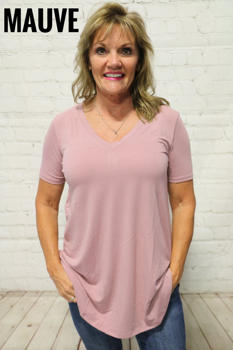For Every Occasion Basic V-Neck Tee in Multiple Colors - Sizes 4-20