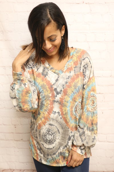 Make it Happen Mocha Tie Dye Bubble Sleeve Top - Sizes 4-20