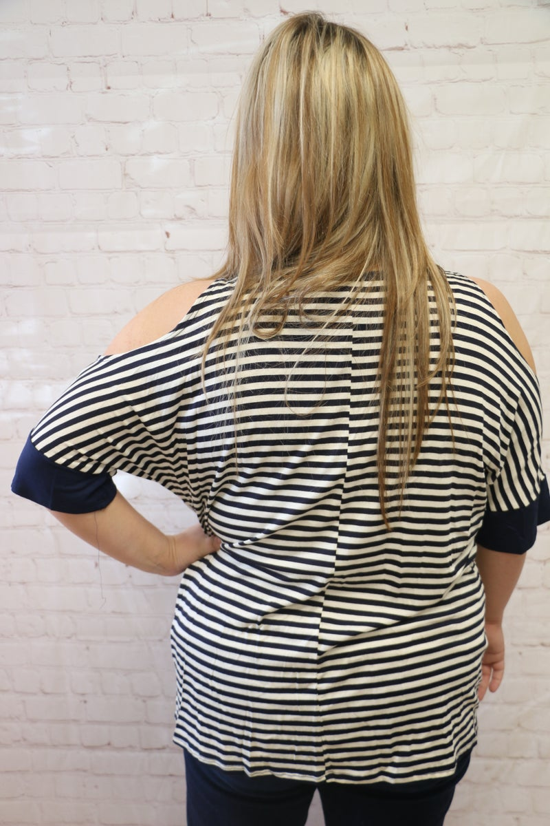 Today's the Day Navy Striped Cold Shoulder Top with Knotted Detail - Sizes 12-20
