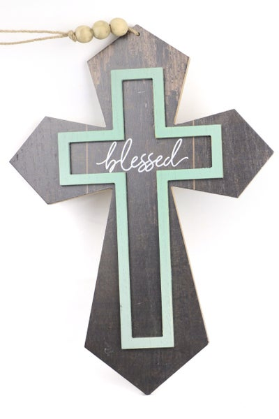 Blessed Wood Double Cross Wall Hanging
