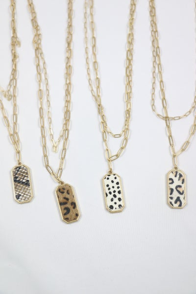 Check It Out Large Link Double Strand Gold Necklace With Animal Print Pendant In Multiple Colors