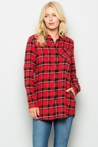 Bring on the Day Button Down Red Flannel - Sizes 4-12