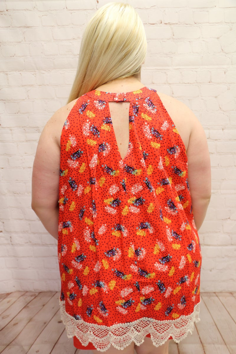 Hit You Like a Tidal Wave Coral Floral Sleeveless Keyhole Top with Crochet Hem - Sizes 12-20