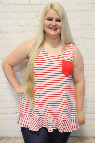 Red Striped Tank Top w/ Front Pocket and Ruffle Hem ~ Sizes 4-20