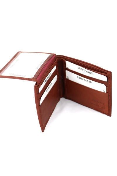 Driven Cognac Genuine Leather Bi-fold Wallet