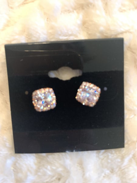 Everything To Me Square Cut Crystal Stud Earring In 18K Rose Gold Plate