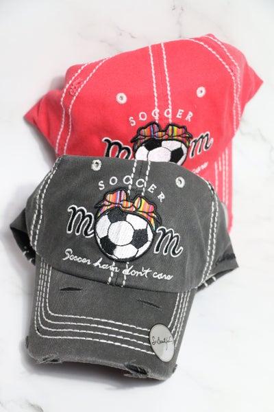Soccer Mom - Soccer Hair Don't Care - Serape Bow Soccer Baseball Cap in Multiple Colors