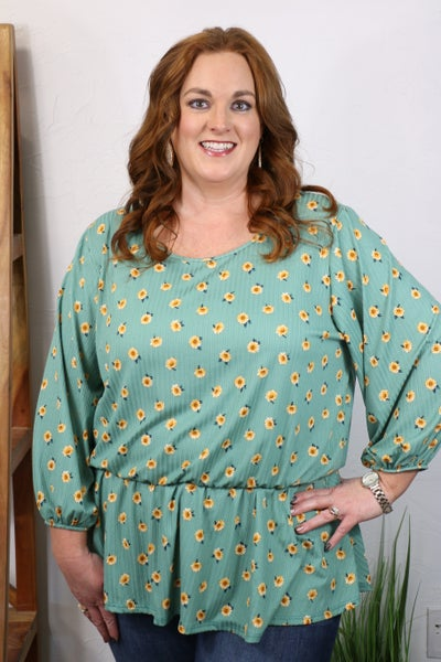 Blooming in Joy Floral Sage Three Quarter Sleeve Top with Pleated Neckline - Sizes 12-20