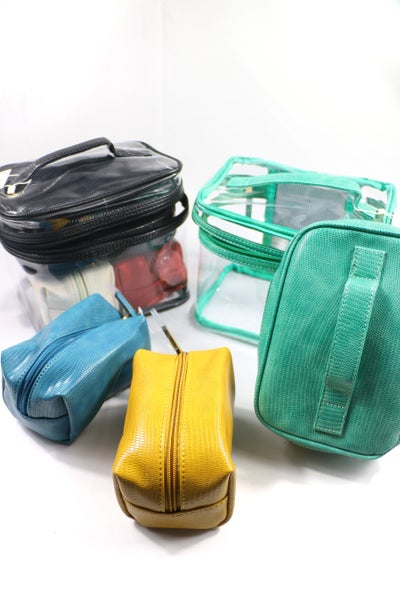 It's Perfect 4 Pc. Snake Skin Cosmetic Bag Set In Multiple Colors