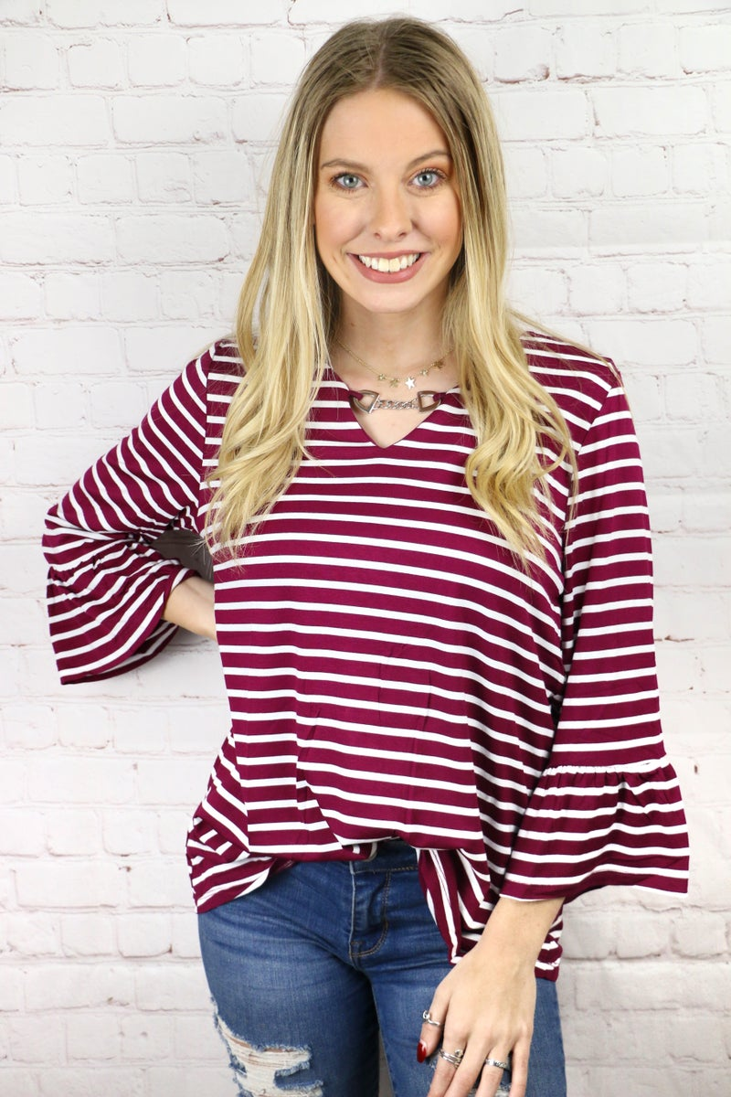 Striped Top with Chained Keyhole Neck in Multiple Colors - Sizes 4-10