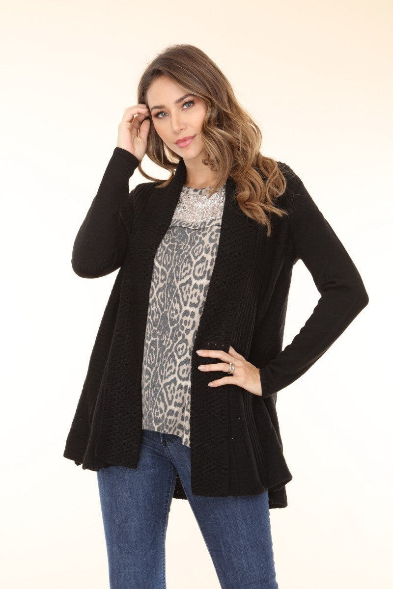 I Spy with My Lil' Eye Black Knitted Sweater Cardigan with Front Pocket - Sizes 4-18