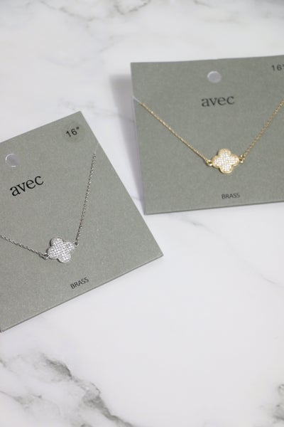 Always Good Short Gold Necklace With Crystal Clover Pendant In Multiple Colors