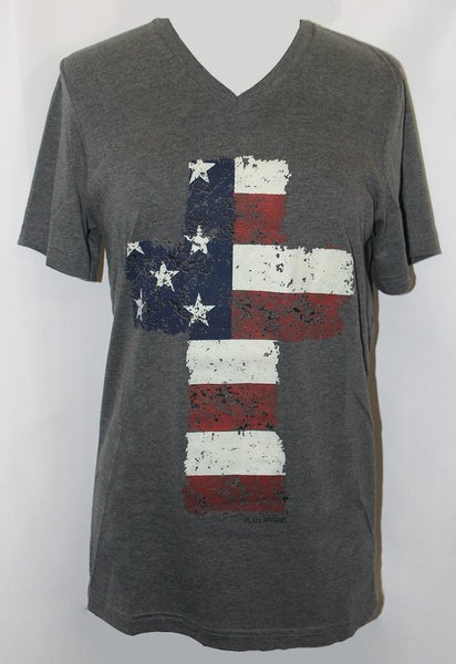 American Flag in a Cross Graphic Tee - Sizes 4-20