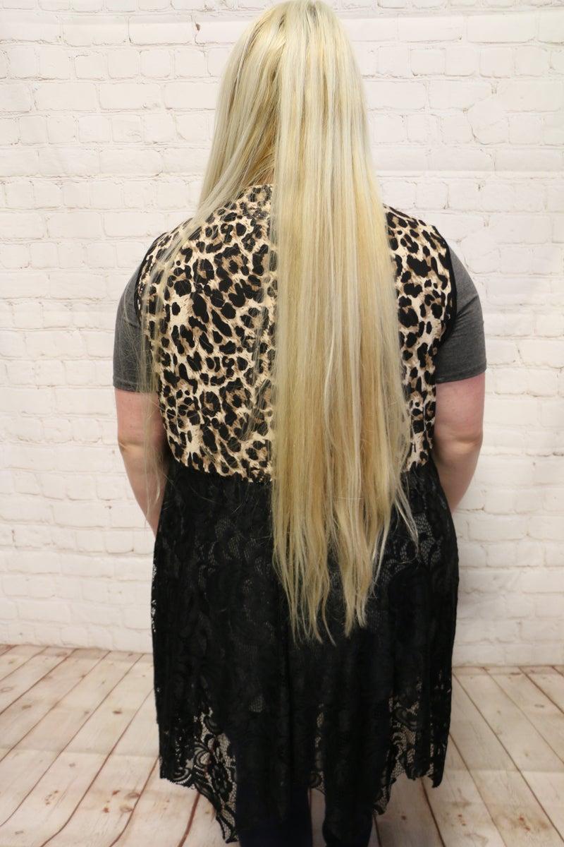 Printed Pattern & Lace Kimono Vest in Multiple Designs - SIzes 4-20