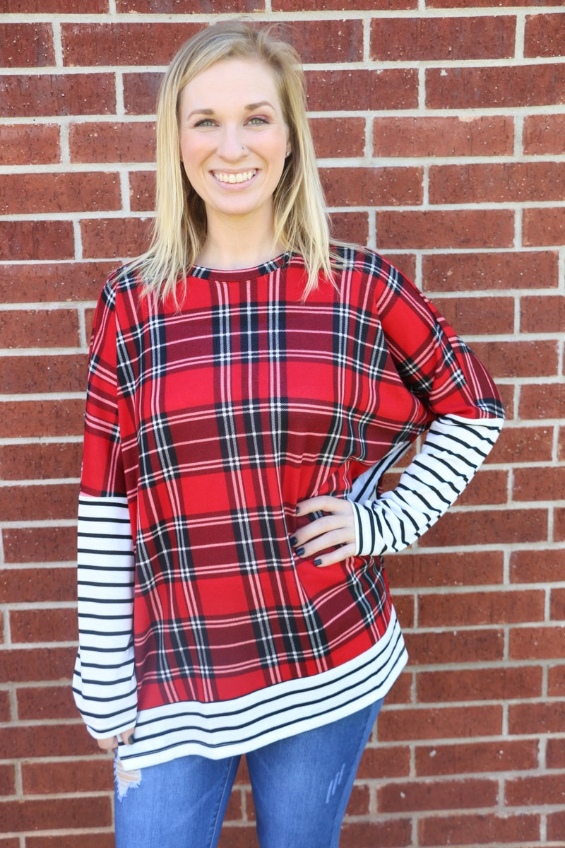 Ill Be Home Plaid Top With Striped Sleeve And Border Hem- Sizes 4-20