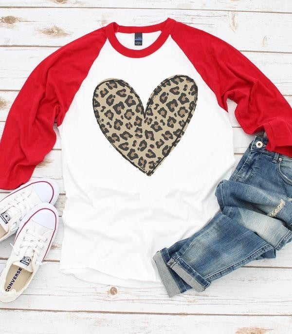 Cross My Heart Leopard Raglan With Red Sleeves - Sizes 4-12